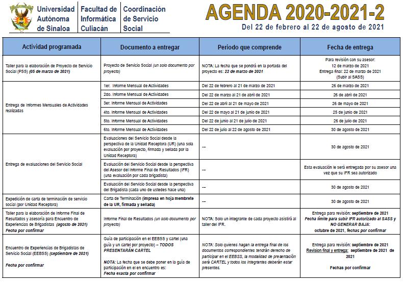 AGENDAD 2020-2021-2